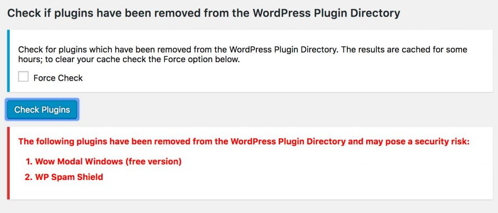 Check Plugins Error