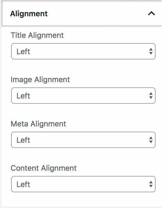 Center, left, or right align Custom Post Types Block in Grid format.