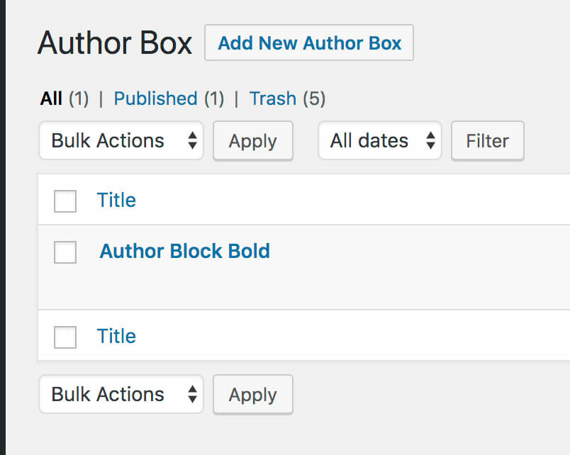 Author Block List Screen