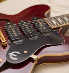 the epiphone riviera with a fretboard made of rosewood with a pearloid parallelogram overlay is a beautiful semi hollow guitar that produces an adaptable  [ 5472 x 3648 Pixel ]