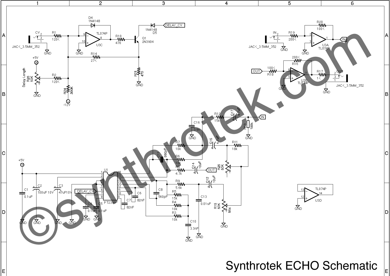 Photo Synthrotek EKO / ECHO : Synthrotek ECHO Schematic