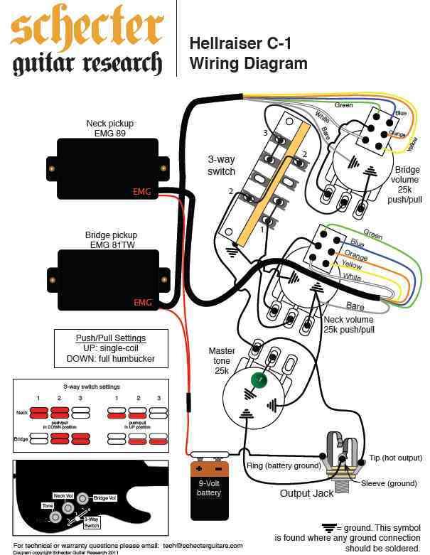emg wiring diagram selec temperature controller schecter hellraiser c-1 image (#992752) - audiofanzine