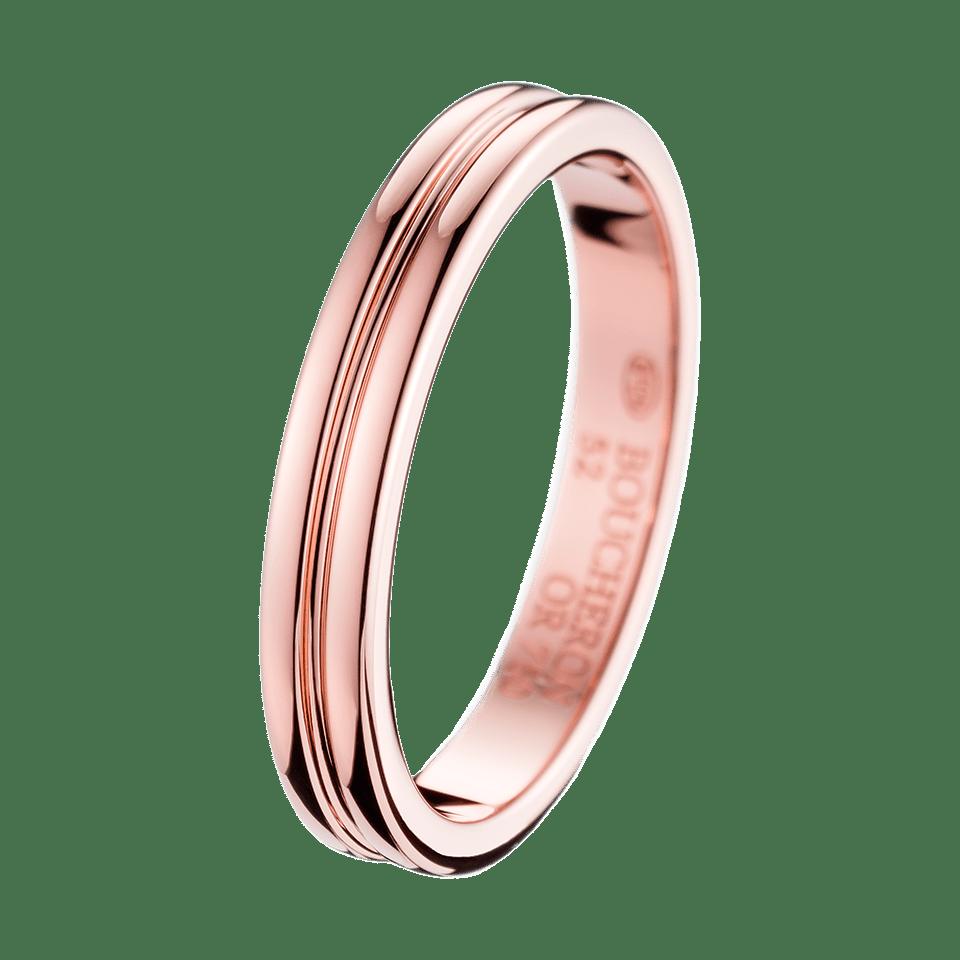 Godron Small Pink Gold Wedding Band Boucheron