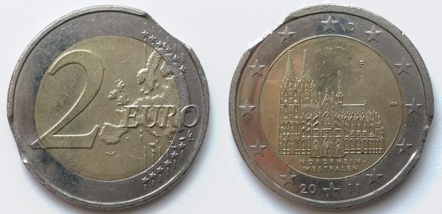 2 Euro Allemagne 2011D double lunule sur couronne
