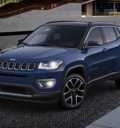 2019 jeep compass trailhawk in jazz blue parked [ 1200 x 800 Pixel ]