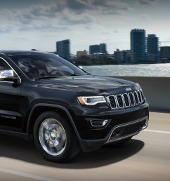 black 2019 jeep grand cherokee speeding through the roads in front of a city skyline [ 2496 x 1066 Pixel ]