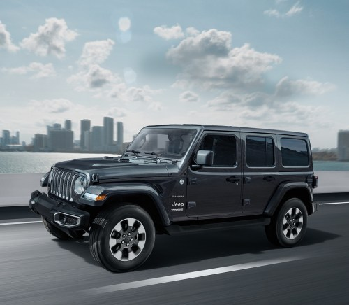 small resolution of 2019 jeep wrangler on highway shown in dark grey