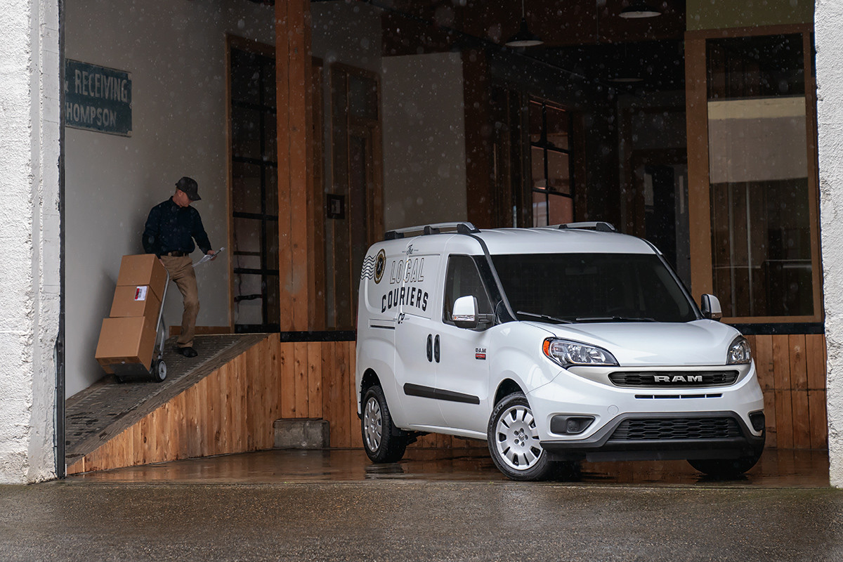hight resolution of 2019 ram promaster city being unloaded in loading dock shown in white