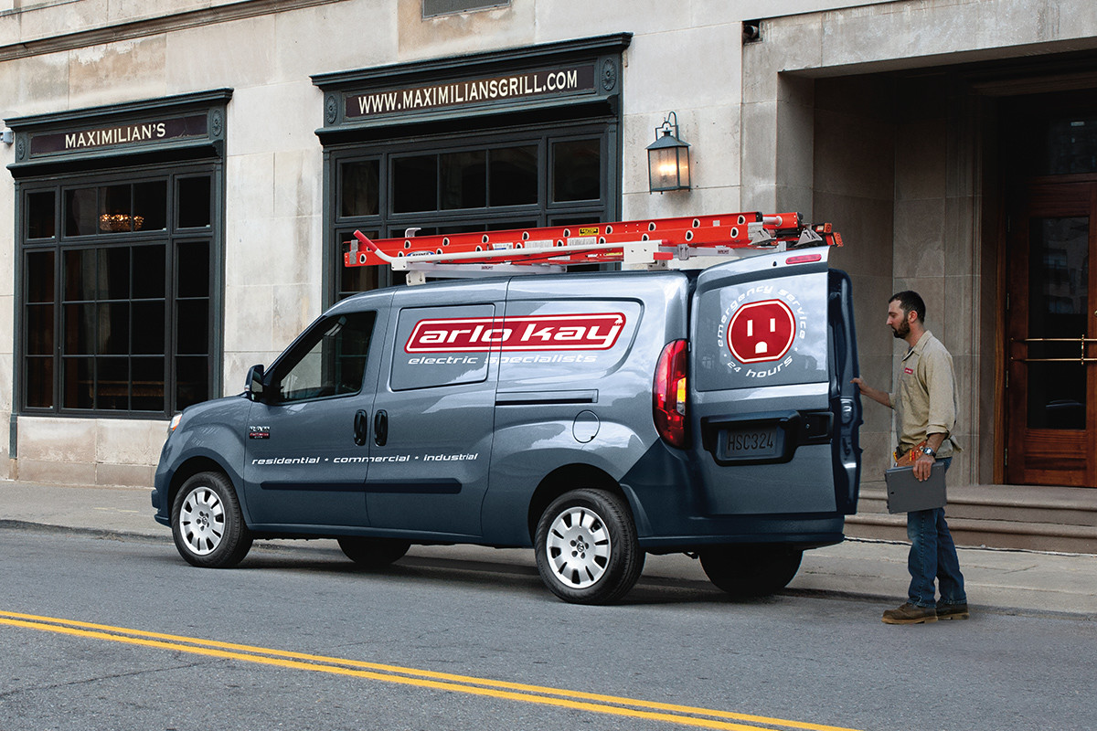 hight resolution of 2019 ram promaster city parked on city street shown in grey