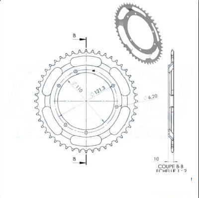 Couronne 1Tek origine D.110 54 dents 6 trous MBK 88