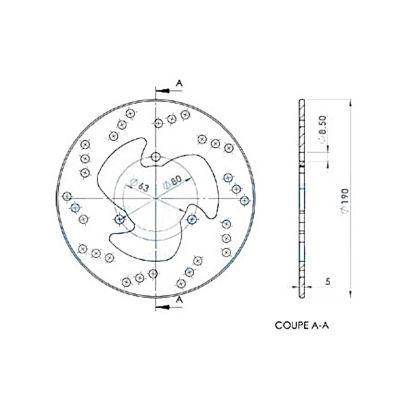 Disque de frein avant Braking fixe rond Ø220 mm MB03FI