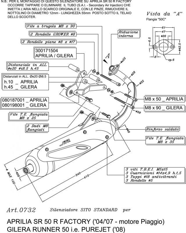 Pot d'échappement Sito pour Aprilia SR 50 R Factory 04-12
