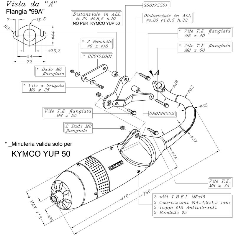 Pot Leovince Scoot Touring KYMCO 50 Dink / Super 8