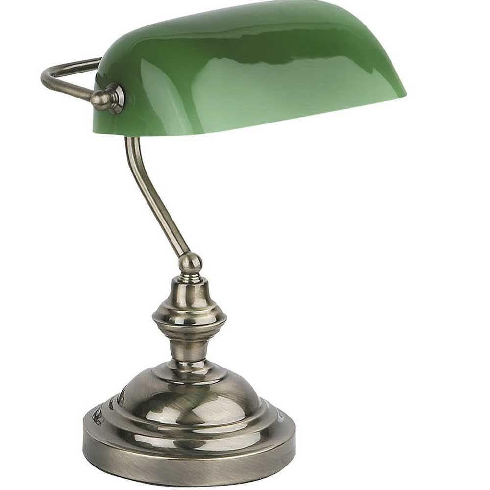 Lampe Banquier opaline verte pour bureau