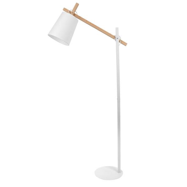 lampadaire design bois et metal blanc
