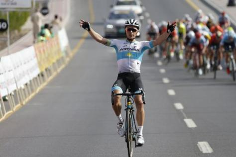 Cyclisme sur route - Tour d'Oman - Alexey Lutsenko à l'arrivée de la deuxième étape du Tour d'Oman (Y. Sunanda)