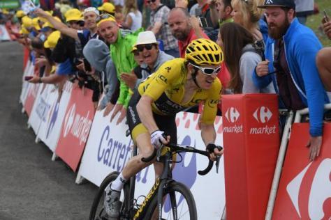 Cyclisme sur route - Tour de France - Geraint Thomas avait encore les jambes pour lâcher Primoz Roglic et Tom Dumoulin dans les derniers mètres de la course. (S.Mantey/L'�quipe)