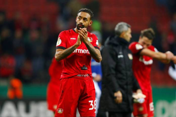 Karim Bellarabi scored Bayer Leverkusen's first goal in Wolfsburg. (T. Schmuelgen / Reuters)