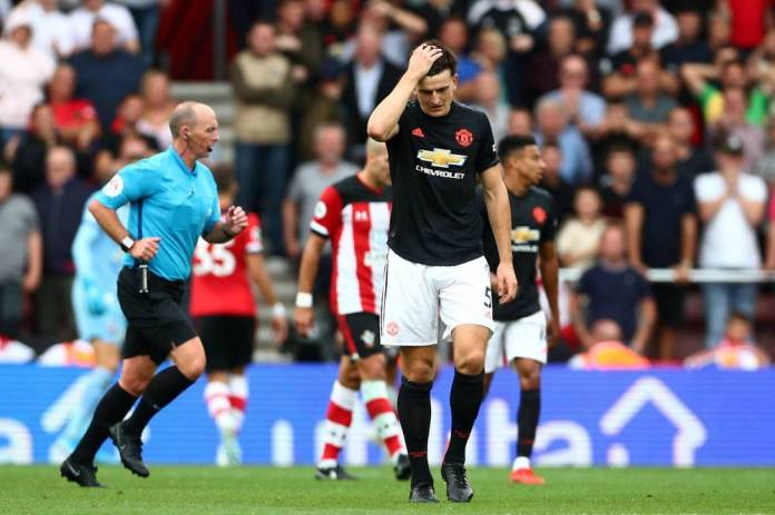 The disappointment of Harry Maguire, held in check with Manchester United by the Saints, Saturday. (Reuters)