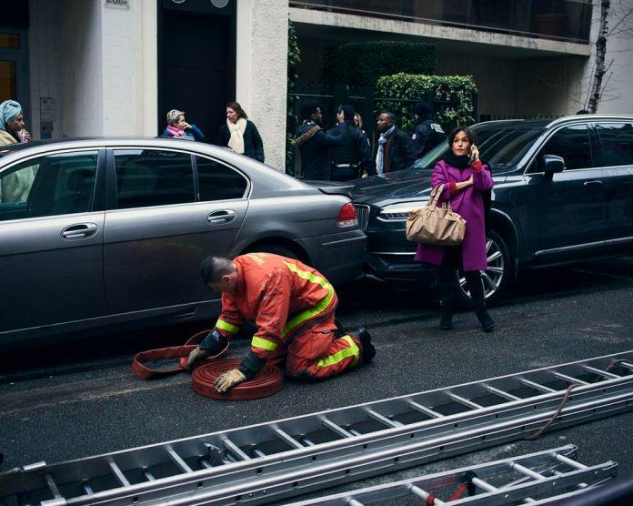 Paris, February 5, 2019. Near the building burned rue Erlanger in the 16th arrondissement of Paris.
