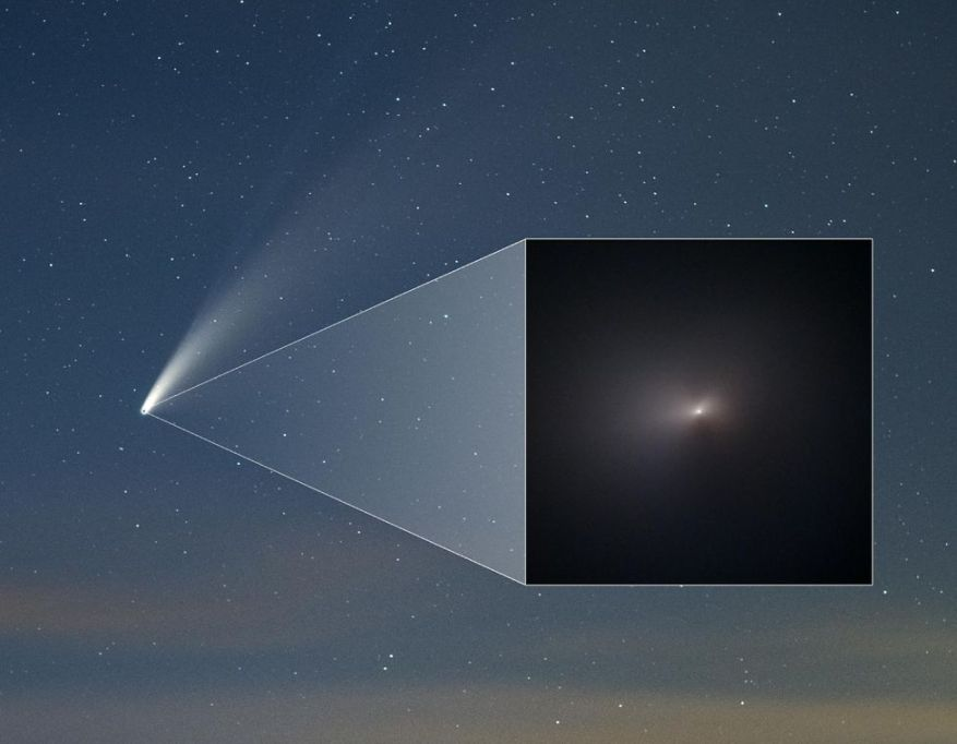 Photo of comet Neowise (C / 2020 F3) taken from the ground on July 16, 2020. In the insert, a Hubble photo taken on August 8, 2020 after the perihelion passage.