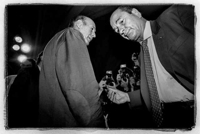réunion de l'UDF en 1990 à St Maximin. Rencontre Giscard ( UDF ) et Chirac ( RPR )