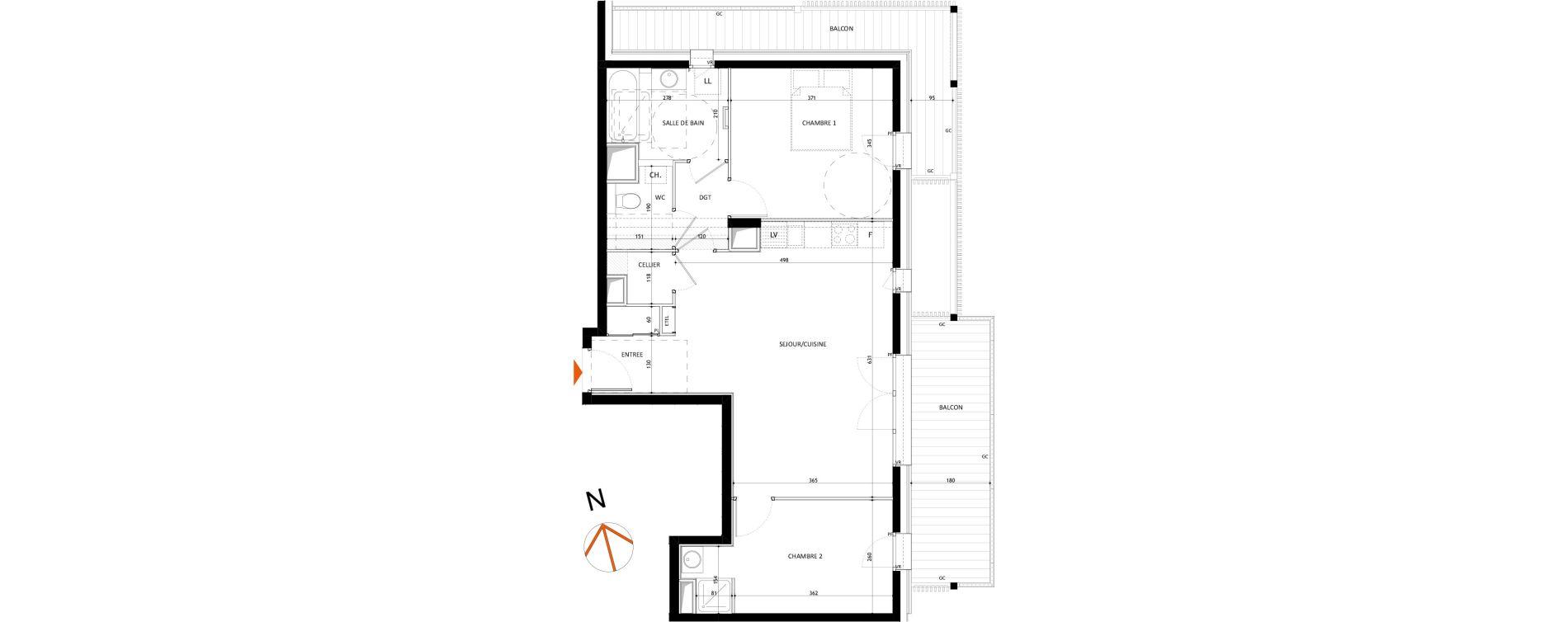 Appartement T3 de 65.80 m2 1er étage E Le 7 Samoëns ref 982