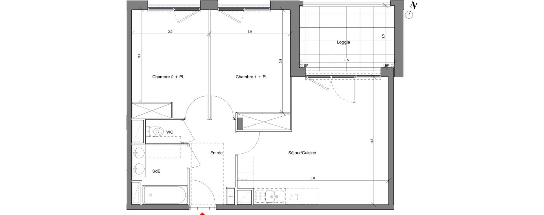 Appartement T3 de 57.80 m2 1er étage N Kubik Garden