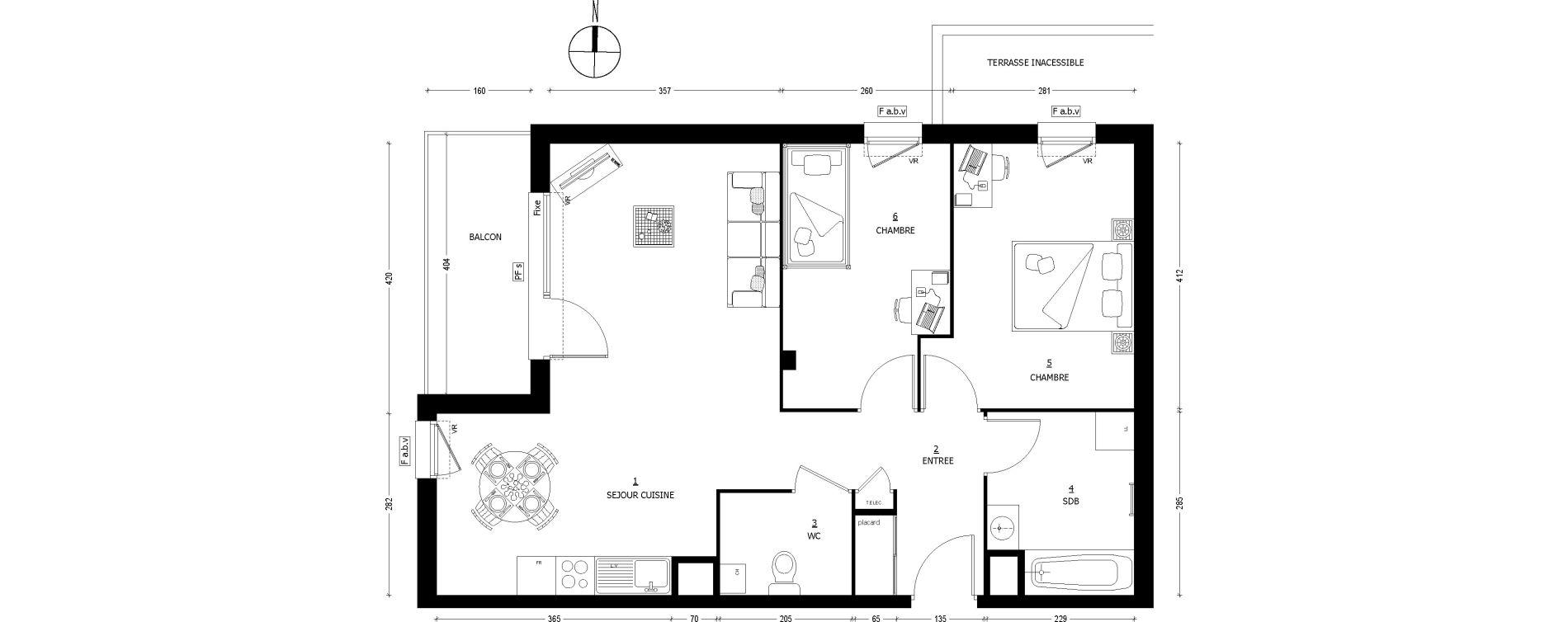 Appartement T3 de 66.38 m2 1er étage O Carmina Saint
