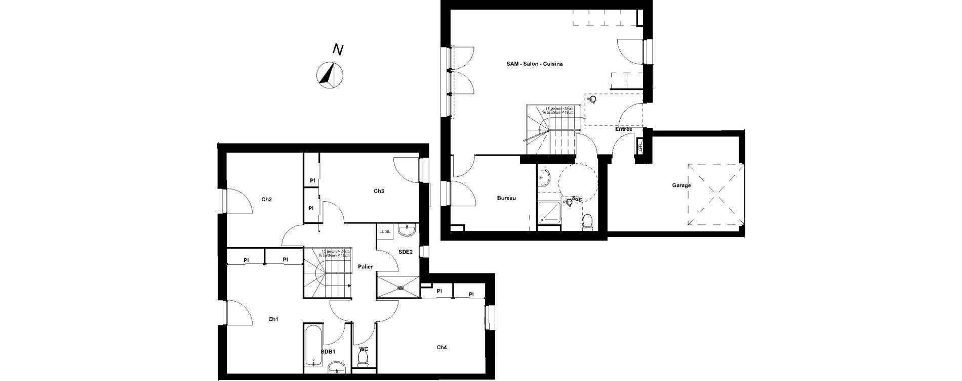 Maison T6 de 116.51 m2 1er étage O Les Jardins de l'Océan