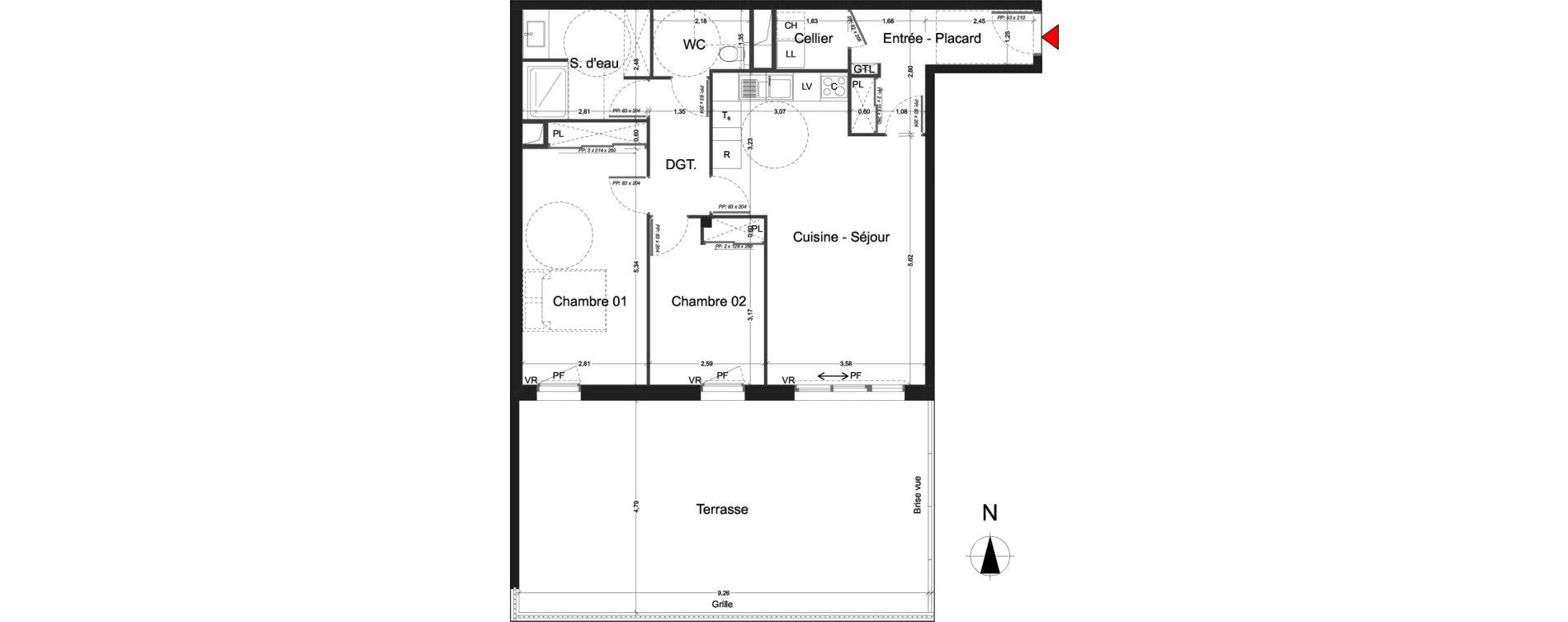 Appartement T3 de 75.72 m2 RDC S L'Orée du Parc Royan ref 005