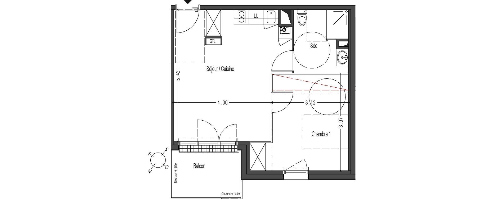 Appartement T2 De 42 40m2 4eme Etage No Art Nouveau Cenon