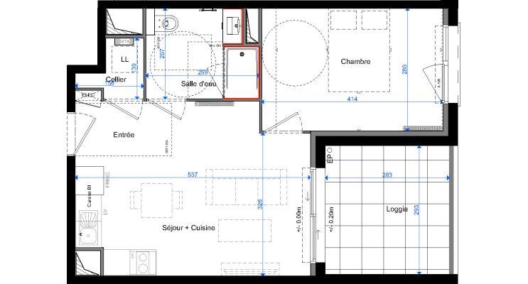 Appartement T2 de 38.10 m2 1er étage E Sakura Cenon ref 725