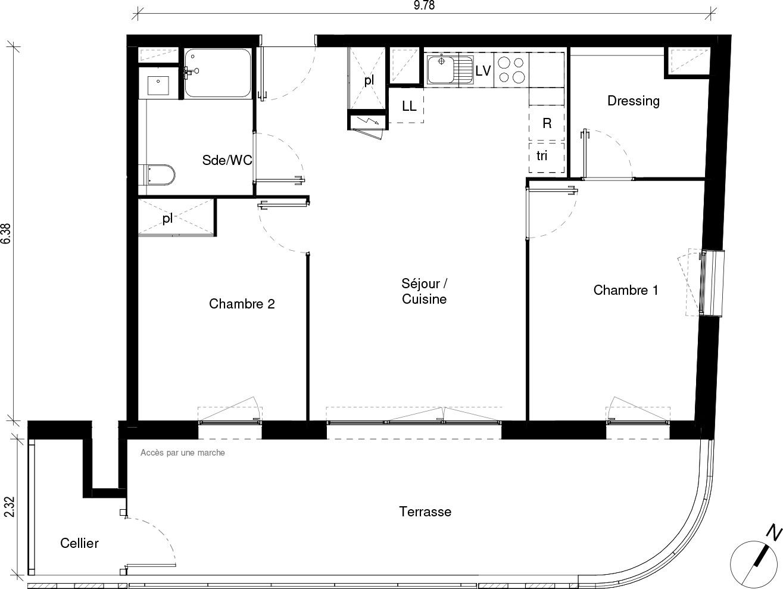 Appartement T2 de 59.17 m2 1er étage SE Caractère Blagnac