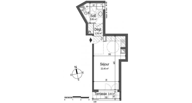 Appartement T1 de 30.55 m2 RDC S Esprit Saint-Roch Nice