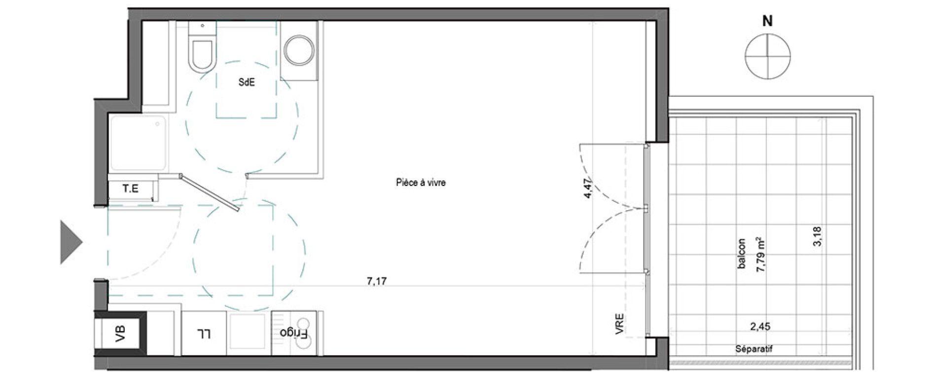 Appartement T1 de 29.70 m2 2ème étage E Boréal Aix-en