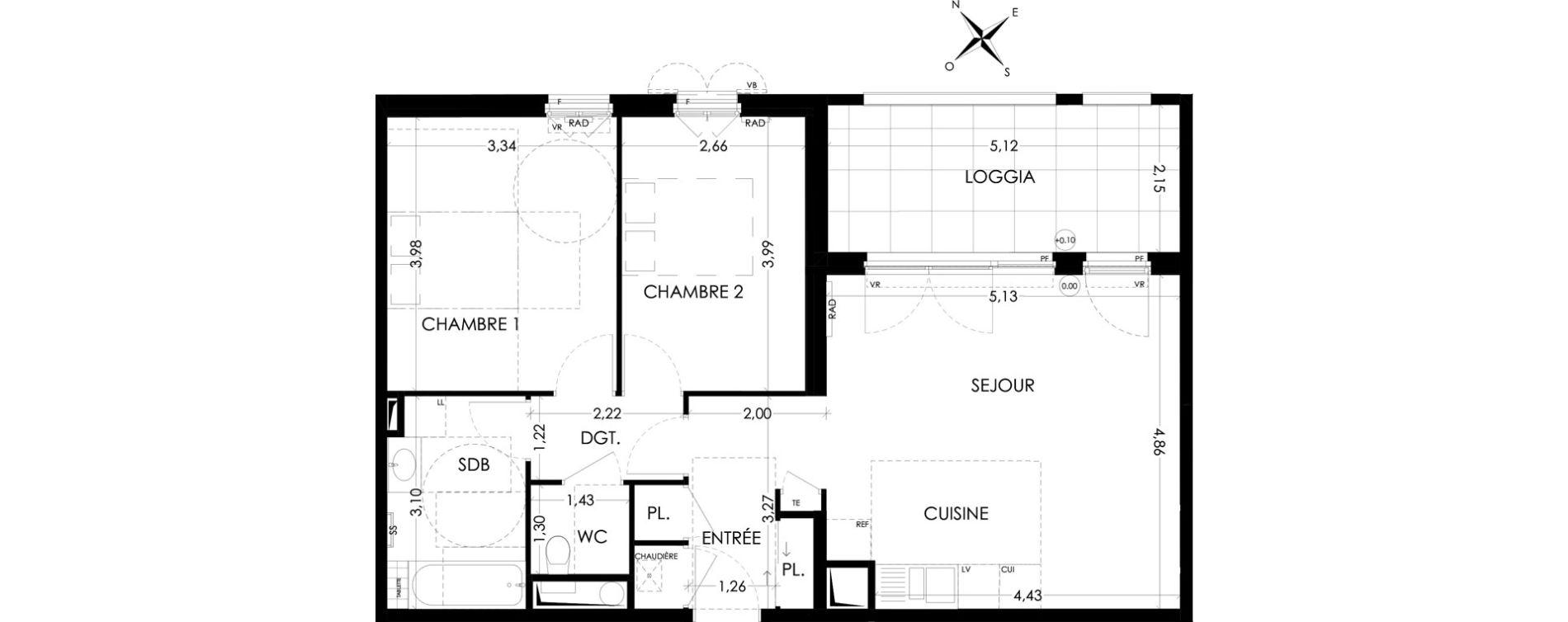 Appartement T3 de 65.83m2 2ème étage NE Harmonie Aix-en