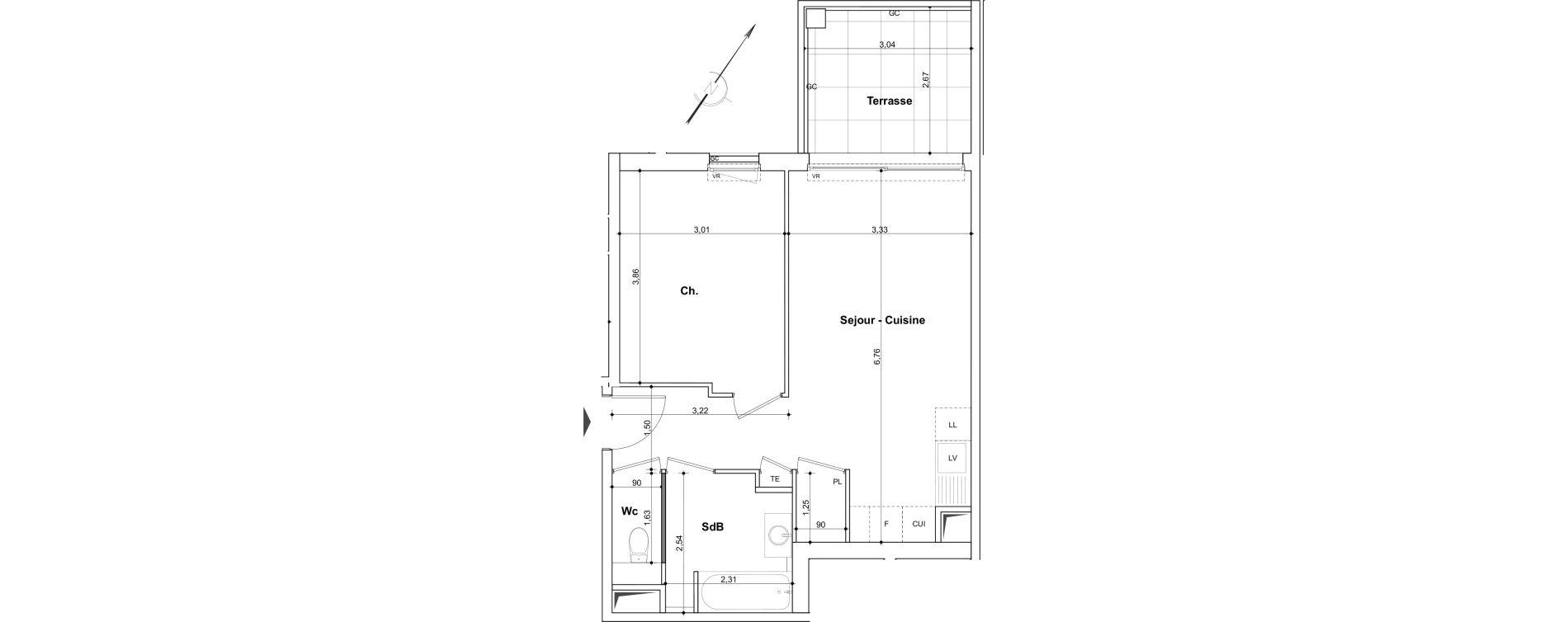Appartement T2 de 45.22m2 1er étage NO Néo aIX Aix-en