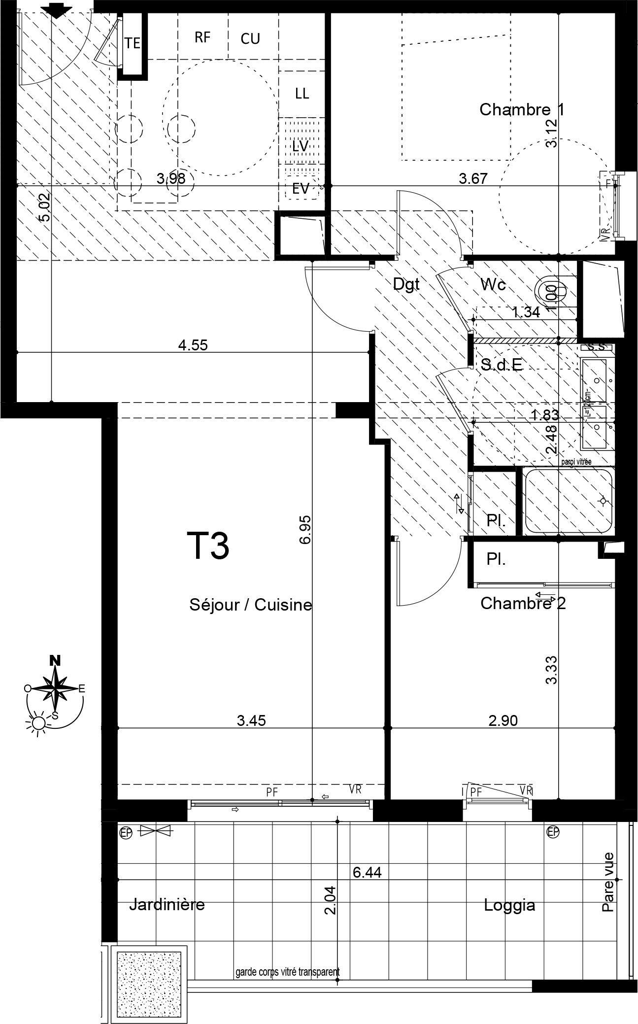 Appartement T3 de 68.60 m2 2ème étage S Villa Oleia Aix-en