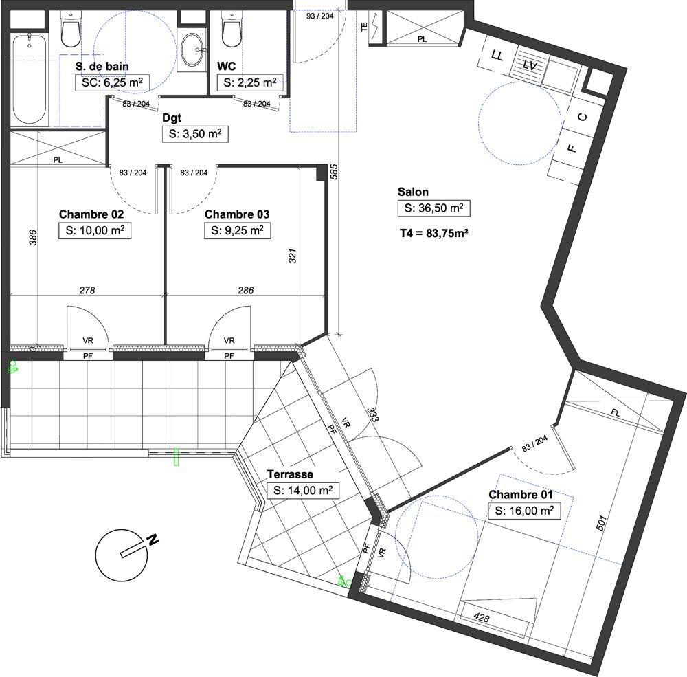 Appartement T4 de 83.75 m2 1er étage SE Le Domaine des