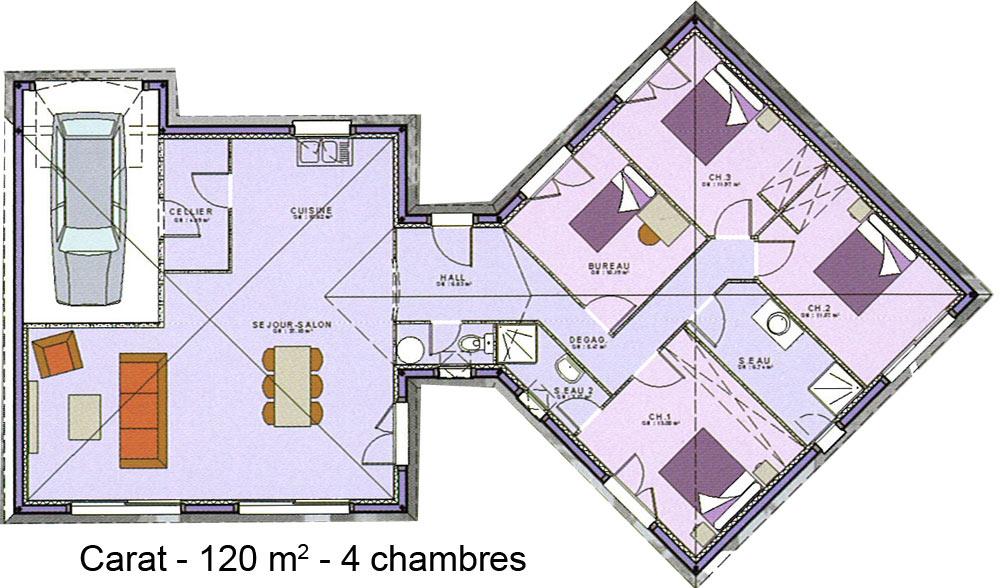 Modle et plans Carat  4 ch du constructeur Maisons SIC