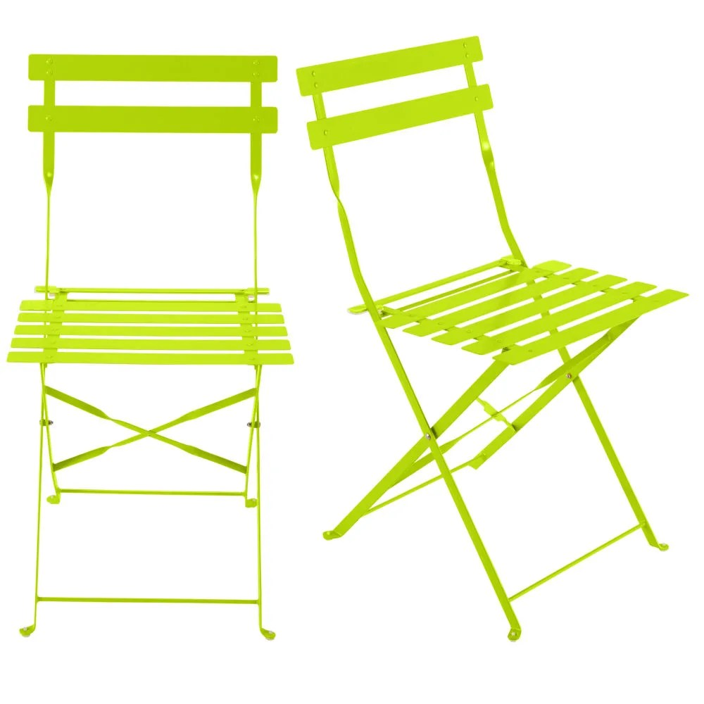 Lime Green Chairs 2 Metal Folding Garden Chairs In Lime Green