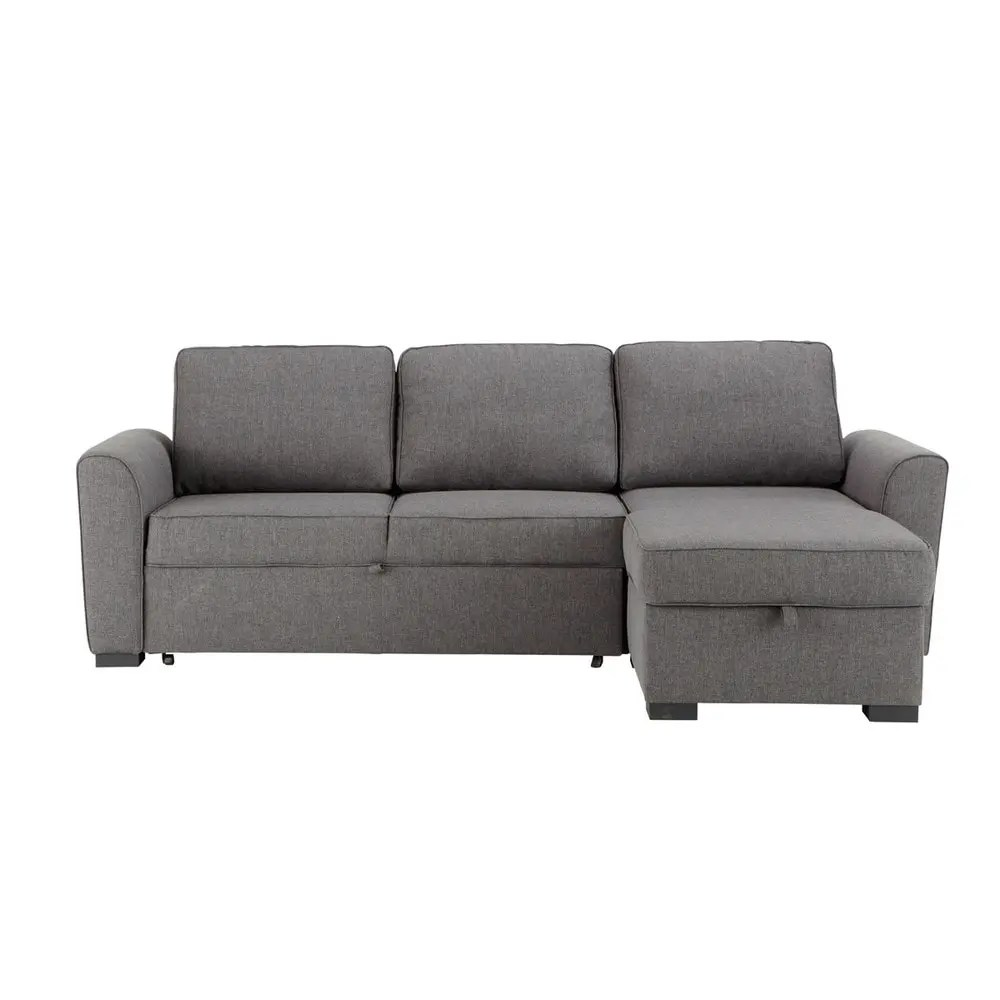 Euro Furniture Montreal 3 4 Seater Grey Fabric Corner Sofa Bed