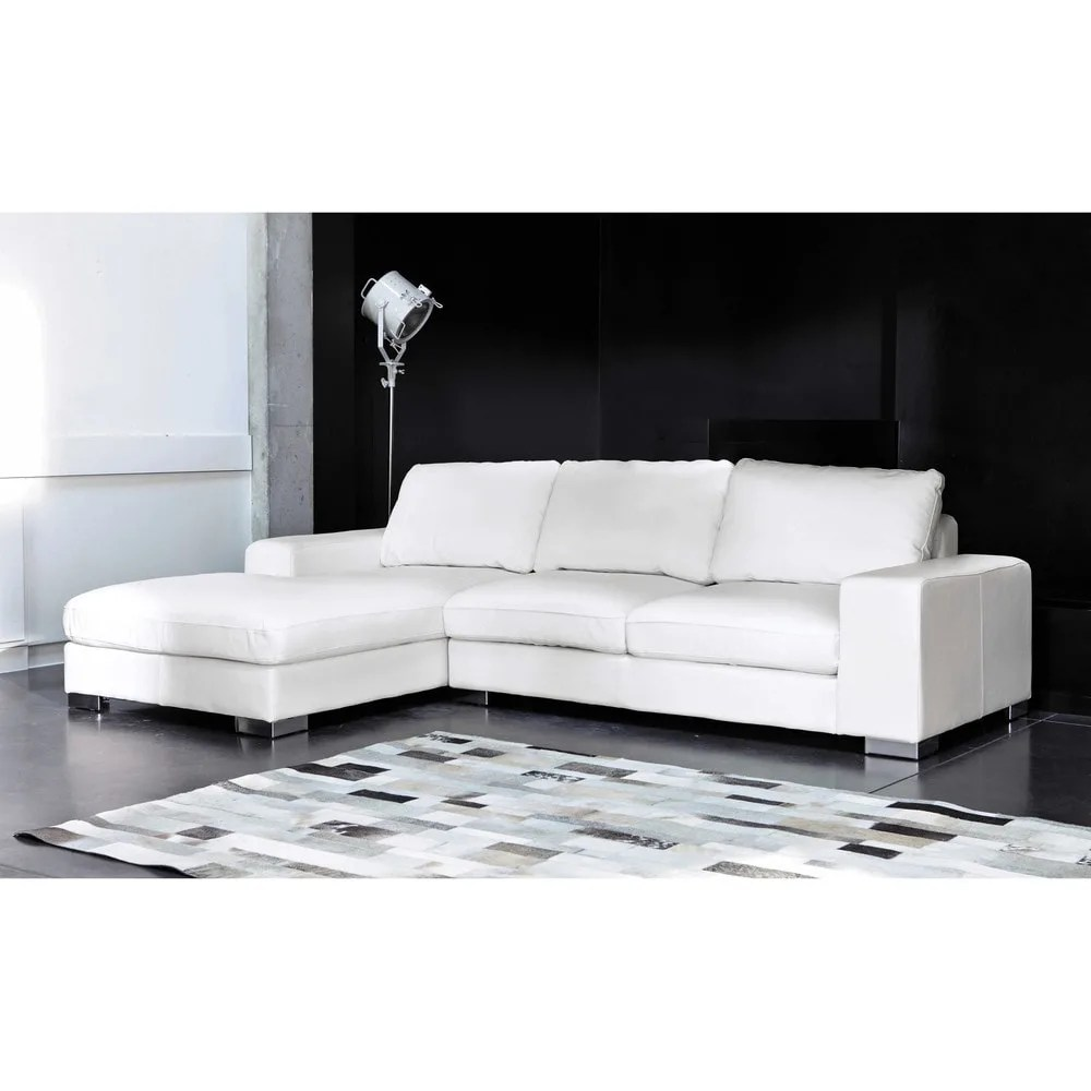 corner sofa bed new york leg 5 seater leather lhf in white maisons du monde