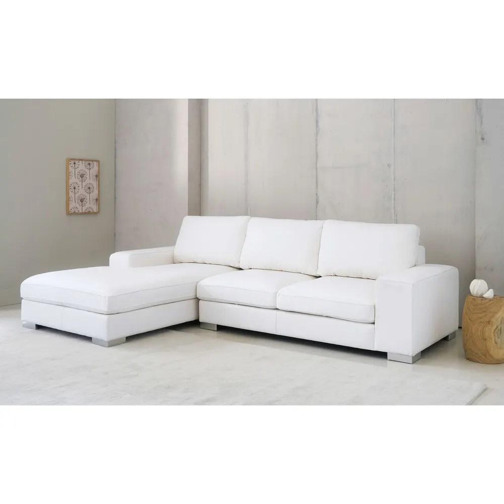 corner sofa bed new york american furniture sofas 5 seater leather lhf in white maisons du monde