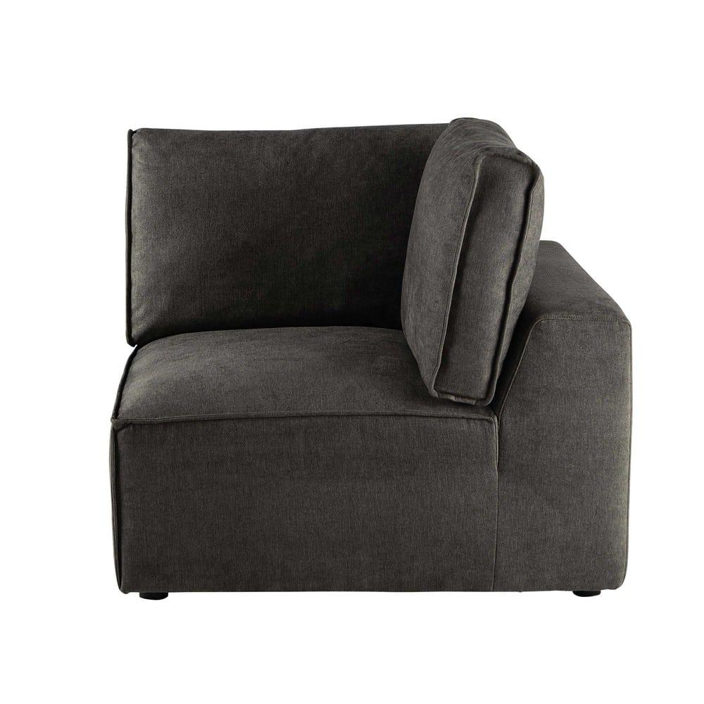 Angolo di divano grigio talpa in tessuto Malo  Maisons du