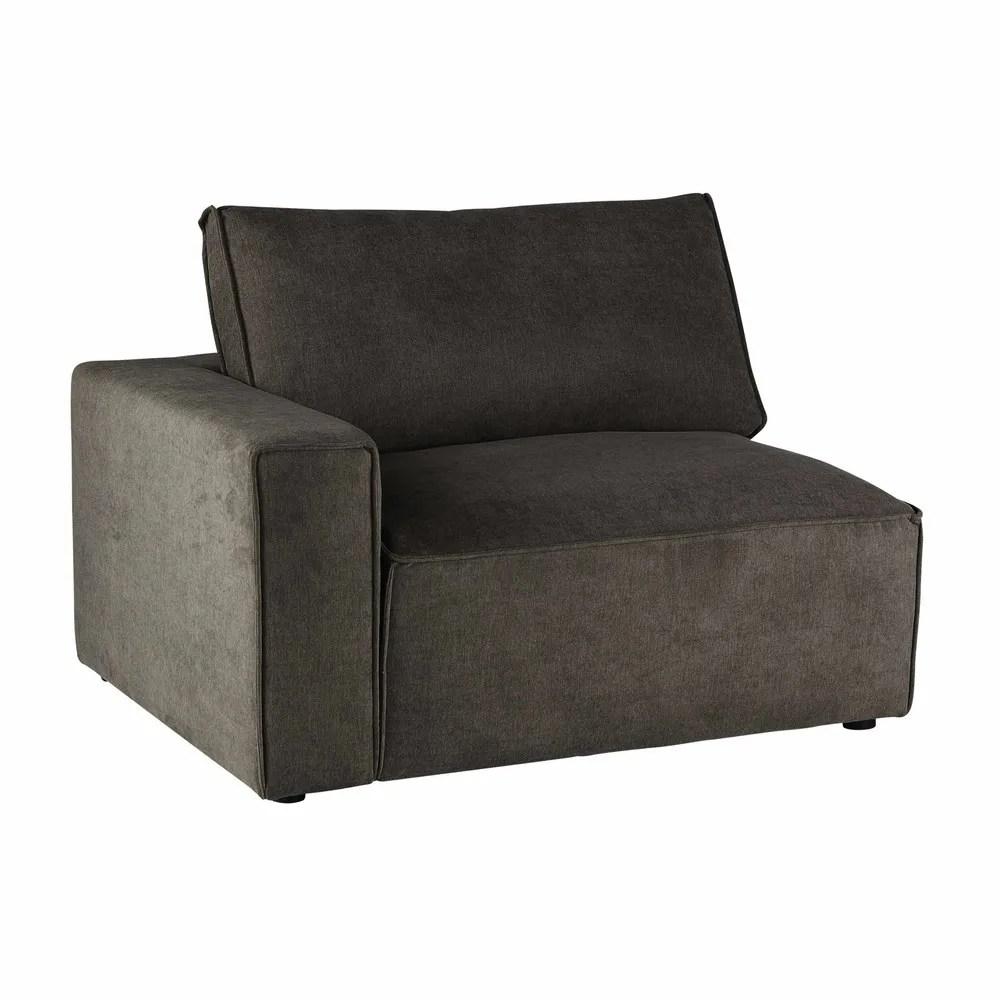 Angolo sinistro di divano grigio talpa in tessuto Malo