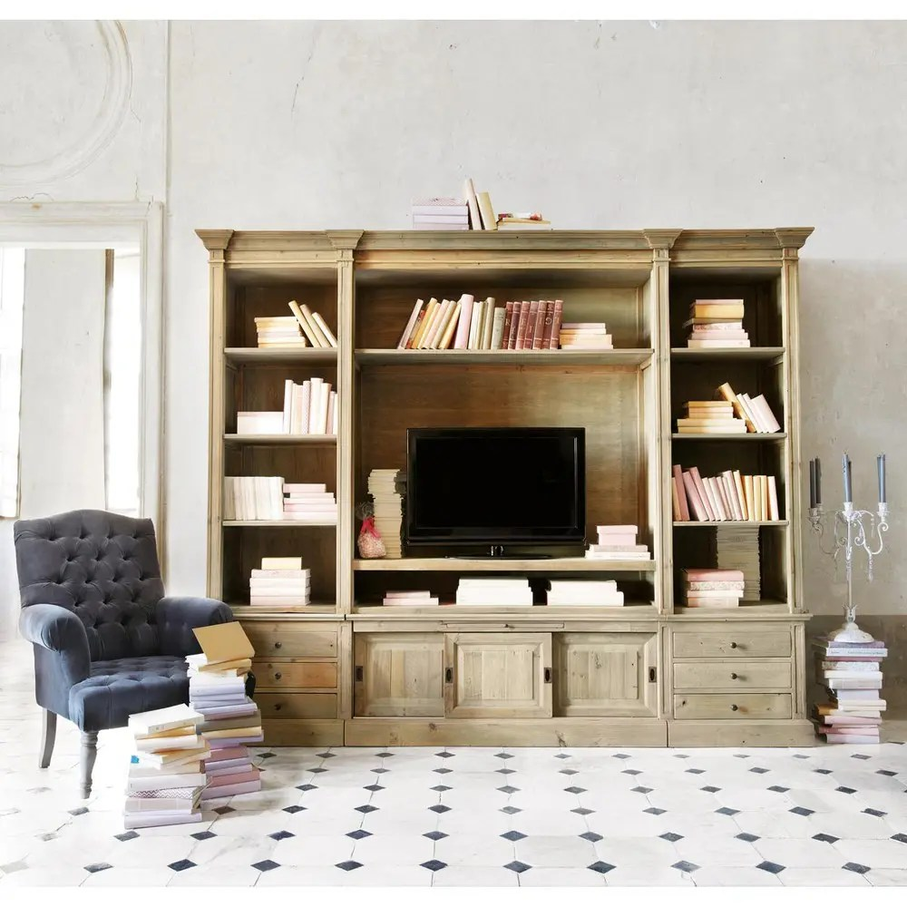 bibliotheque meuble tv en pin massif recycle passy