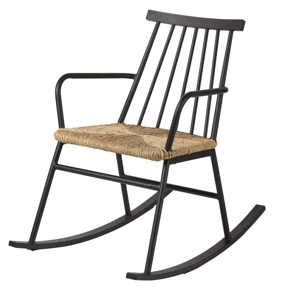 Braided Rattan Effect Resin Outdoor Rocking Chair Tecoma