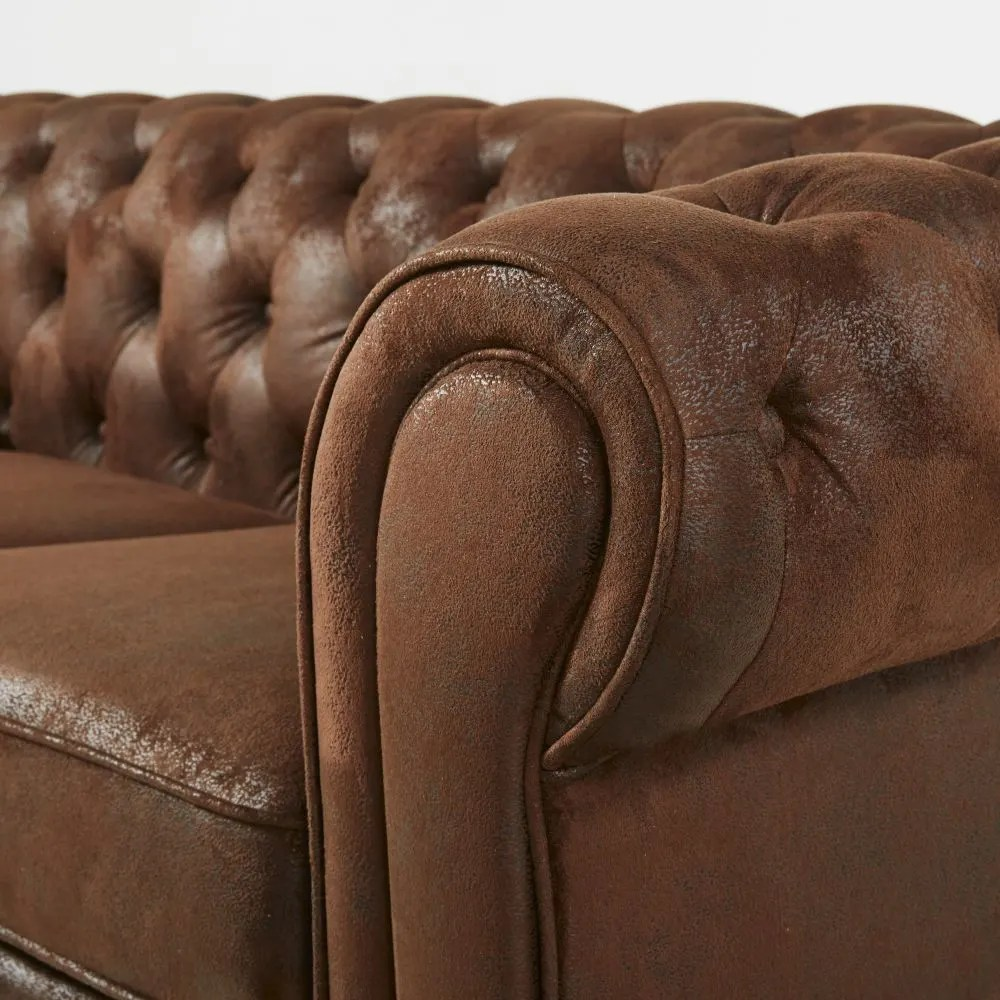 faux suede sofa cleaning instructions sofaore brown 3 seater tufted bed chesterfield maisons du
